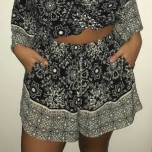 Black and White Printed Shorts
